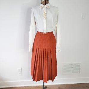 Vintage rust orange high waisted midi skirt